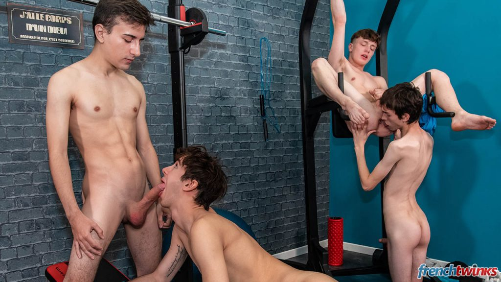 Young Uncut Cock Twinks Twink Teens Smooth Paul Delay Orgy Mael Dumas Jules Laroche Group Sex Gay French European Cumshot Boys Blowjob Big Dick Bareback Anal Sex Alex Faux  French Twinks: Orgy at Gym (Alex Faux, Jules Laroche, Mael Dumas, Paul Delay)